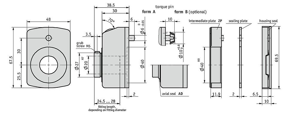 Bản vẽ kỹ thuật bộ chỉ thị vị trí số dạng cơ DA 09S