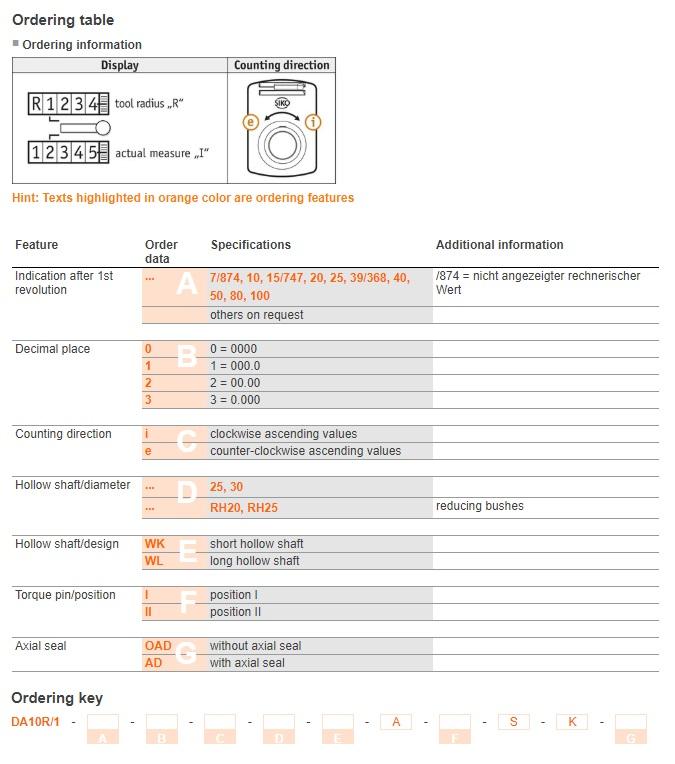 Bảng chọn mã bộ chỉ thị vị trí dạng cơ DA10R/1